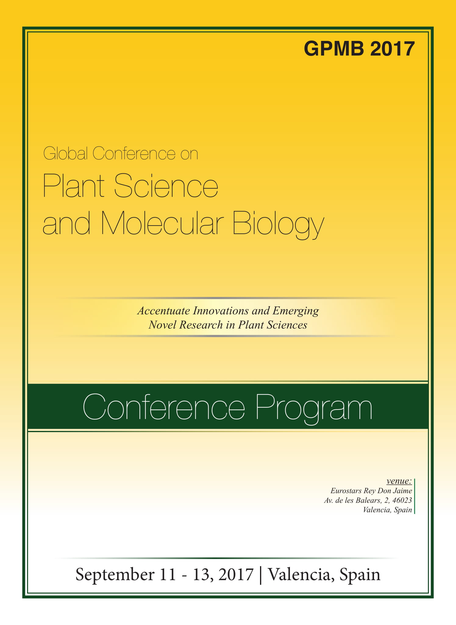 Global Conference on Plant Science and Molecular Biology Program